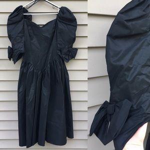 Vintage 50s black taffeta prom dress sz 12